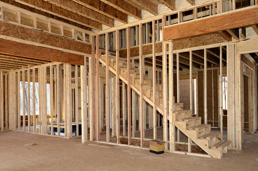Framing. 37625669   The Interior Of A Home Under Construction Showing The  Stairs, Bedroom Or Office