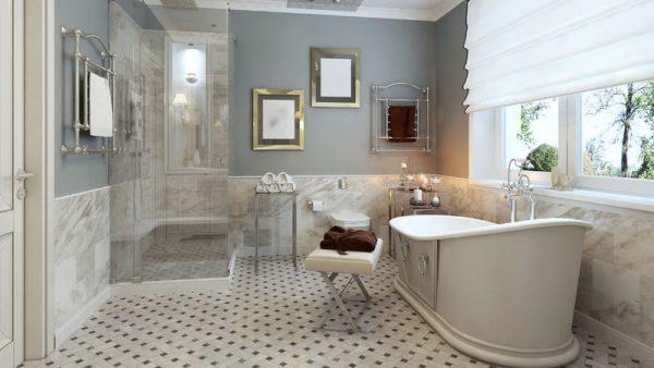 47275990 - bright bathroom provence. 3d render